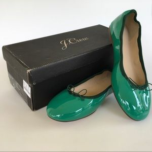 J. Crew Patent Leather Evie Ballet Flats Green 5.5